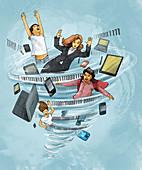 Internet addiction, illustration
