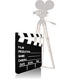 Movie camera with a film slate, illustration