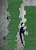 People climbing pile of paper currency, illustration