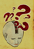 Question marks emerging from a person's head, illustration