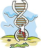 Scientist moving up on a DNA ladder, illustration