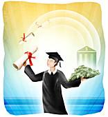 University student holding diploma and money, illustration