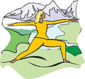 Woman exercising outdoors, illustration