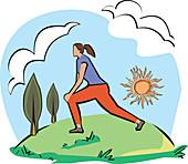 Woman exercising, illustration
