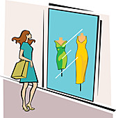 Woman standing outside a clothing store, illustration