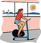 Woman using an exercise bike, illustration