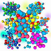 Multicoloured molecules, illustration