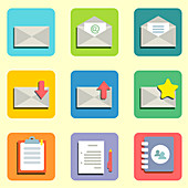Email icons, illustration