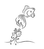 Goldfish jumping from water, illustration