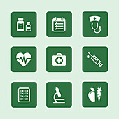Health icons, illustration