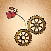 Oiling cogs, illustration