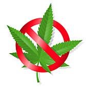 Stop marijuana sign, illustration