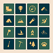 Outdoors tourism camping icons of road mountain tree and nat
