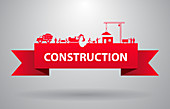 Construction banner, illustration