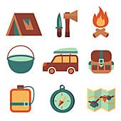 Camping icons, illustration