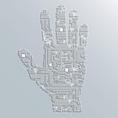 Circuit board hand, illustration