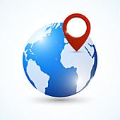 Globe with location pin, illustration
