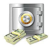 Safe with banknotes, illustration