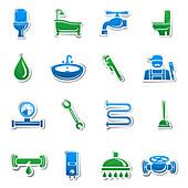 Plumbing icons, illustration