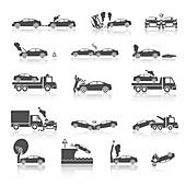 Car accident icons, illustration