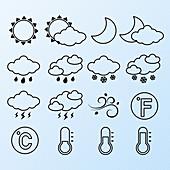 Weather forecast icons, illustration