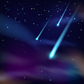 Night sky with comets, illustration