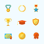 Award icons, illustration