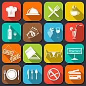 Restaurant icons, illustrations