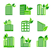 Green office buildings, illustration