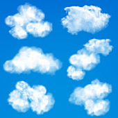 Sky with clouds, illustration