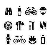 Cycling icons, illustration