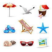 Beach holiday icons, illustration