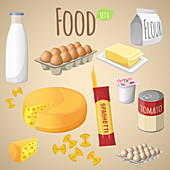Food items, illustration