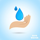 Save water, illustration