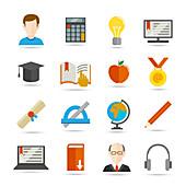 Education icons, illustration