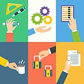 Business activities, illustration