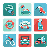 Car wash icons, illustration