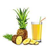 Pineapple juice, illustration