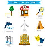 Tourism icons, illustration