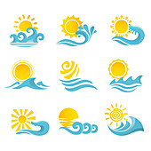 Sun and wave icons, illustration