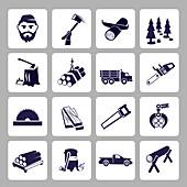 Logging icons, illustration
