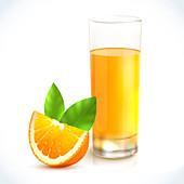Orange juice, illustration