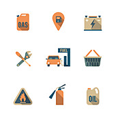 Service station icons, illustration