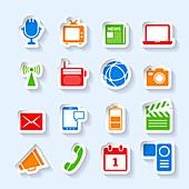 Media icons, illustration