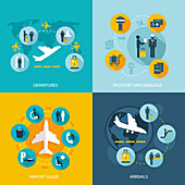 Airport icons, illustration