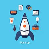 Start-up company, illustration