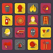 Firefighting icons, illustration