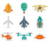 Aircraft icons, illustration