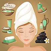 Spa treatments, illustration