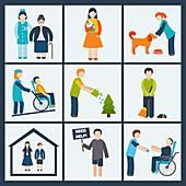 Social care, illustration